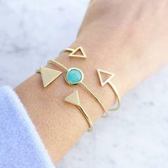 Triangle Gold Jonc Bracelet - Majolie   - 1