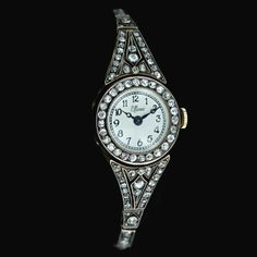 I'd totes wear a watch if it was covered in diamonds!!  Early 1900's Diamond Wrist Watch