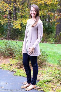 Long Beige Cardigan, Stripes & Jeggings.  Over 30 everyday fashion ideas from Running in a Skirt.
