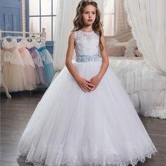 Muchachas de Flor Vestidos con el Tren Largo de Cumpleaños de Las Muchachas de Encaje blanco Vestido de Fiesta de Tul Vestidos de Primera Comunión para Niñas vestido de Bola