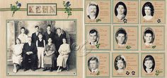 Kehn...when a group photo is all you have, create individual portraits by cropping out each person, then add their genealogical information next to their individual photo. Great idea!