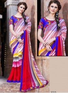 Enticing Lace Bordered Multicolor Faux Georgette Casual Wear Printed Saree http://www.wholesalesalwar.com/sarees/catalog