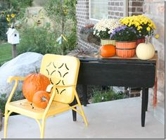 Fall Front Porch Decorating Ideas; love the retro chair