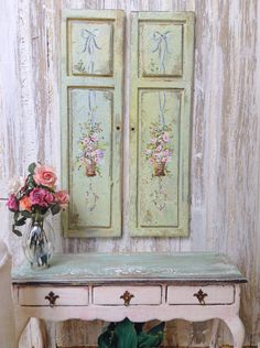 Decorative Door Panels by MaritzaMiniatures on Etsy Doll Furniture, Dollhouse Furniture, Painted Furniture, Miniature Furniture, Decoration, Art Decor, Dollhouse Accessories, Decoupage, Painted Doors
