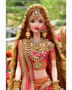 Best Indian Wedding Dresses, Pink Wedding Gowns, Wedding Doll, Barbie India, Neha Kakkar Dresses, Velvet Dress Designs, Barbie Hairstyle, Barbie Clothes Patterns, Indian Bride And Groom
