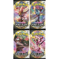 PokemonTCG Sword & Shield 'Rebel Clash'x 4 Booster Packs-New and Sealed Cards Pokemon Trading Card, Trading Cards, Powerful Pokemon, New Pokemon, Charizard, I Am Game, Card Sizes, The Expanse, Rebel