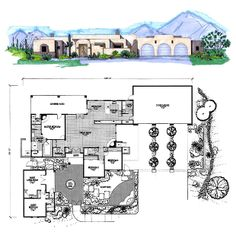 COOL house plans offers a unique variety of professionally designed home plans with floor plans by accredited home designers. Styles include country house plans, colonial, Victorian, European, and ranch. Blueprints for small to luxury home styles. Courtyard House Plans, 3 Car Garage, Best House Plans, House On A Hill, Southwest Style, Living Area, Home Goods, Have Fun, Bathrooms