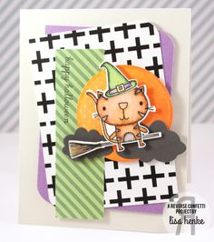 Card by Lisa Henke. Reverse Confetti stamp set and coordinating Confetti Cuts: Too Cute to Spook. Quick Card Panels: Fall Fun.