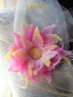 Love is all around  star felted flower brooch from fine merino wool by LanAArt