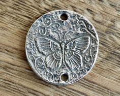 25mm Pewter Butterfly Pendant Handmade Artisan Green Girl Studios Double Sided Message Fantasy 25x2mm Antique Silver Lead Free by TheBeadBandit on Etsy