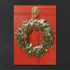 Holly display navy and gold business holiday cards http a snow covered christmas wreath adorns a brilliant red door on this festive christmas card reheart Image collections