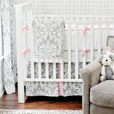 baby quilt - grey and pink damask