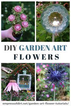7 DIY Garden Art Flower Tutorials DIY tutorials for making garden art flowers for your yard. Diy Garden Projects, Garden Crafts, Diy Garden Decor, Art Floral, Flower Tutorial, Diy Tutorial, Fresco, Glass Garden Art, Glass Art