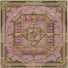 Arabesque--Laura J. Perin You'd never know that this is stitched on sage green canvas unless you look very closely