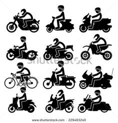 Motorcycle rider Icons set. Vector Illustration