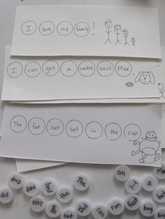 Wrote the words on water bottle tops, match them on the sentence strips, and then read the sentence together.