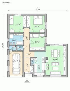 projekty domov - projekt domu v tvare L - LINK Model House Plan, Bedroom House Plans, Dream House Plans, Apartment Floor Plans, Tiny House Living, Planer, Building A House, Architecture Design, New Homes