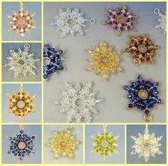 Snowflake pendant brick stitch kit and pattern by Happyland87