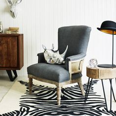 A stripped back classic on a solid mango wood frame with linen upholstery. Less is truly more with the Deconstructed Armchair in Grey Linen. Upholstery, Dining Chairs, Furniture, Grey, Graham, Home Decor, Ikat Print, River Walk, Armchairs