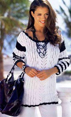 Черно-белый узорчатый пуловер