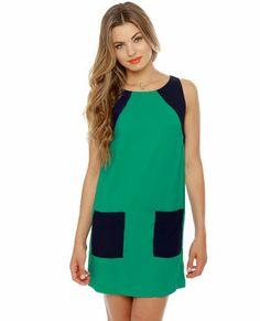 Block-efeller Center Blue and Teal Shift Dress