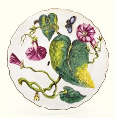 A Chelsea `Hans Sloane' botanical plate, circa 1755, painted with purple convolvulus with green and yellow leaves  and insects, red anchor mark above numeral 35.