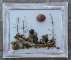 FREE SHIPPING  This piece will be made to order on hand painted backboard Family of five gathered together in the outdoors sitting on a log. This would be such a special gift for any occasion. All materials are in their natural state (pebbles, rocks, artificial moss, driftwood, twigs). The frame is open, painted in acrylics, and distressed, measuring 9x12. It is ready to hang on a wall. I love special requests...and dont forget to check out my shop!  Thank you so much for looking. Please…