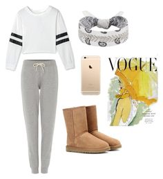 """Lazy day"" by alexxshaw45 ❤ liked on Polyvore featuring UGG Australia, Tommy Hilfiger, Fallon and Art for Life"
