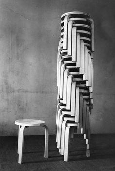 Stool by Alvar Aalto. Man, look at that stack... Genius.