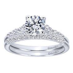 14K White Gold 1.01cttw Pave Set Graduated 11-Stone Round Diamond Engagement…