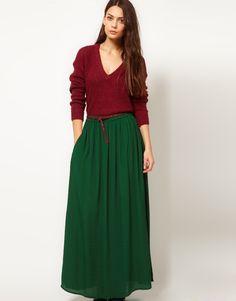 loving this hunter green maxi skirt