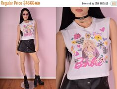 ON SALE 90s Barbie Floral Crop Top/ Small/ 1990s/ Tshirt