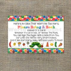 The Very Hungry Caterpillar Baby Shower by WorldOfThought on Etsy, $4.00