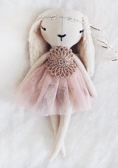 Handmade Linen Bunny Doll by lespetitesmainss on Etsy