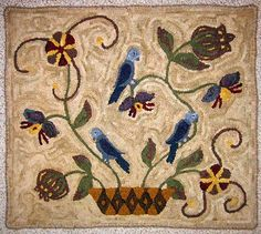 Rug Hooking Kits, Designs and Patterns. Rug Hooking Kits, Rug Hooking Designs, Blue Tulips, Modern Rugs, Cool Rugs, How To Draw Hands, Texture, Wool, Patterns