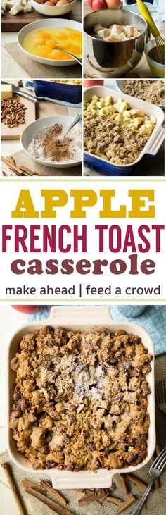 This Apple French Toast Casserole is hearty and filling, and perfect to feed a large family or crowd. You can prepare most of this breakfast the night before, leaving you with minimal steps to do in the morning. Three layers of goodness - a crumble topping on top, apples in the middle and a bread pudding like french toast on the bottom. A delicious fall breakfast! #makeaheadbreakfast #fallbreakfasts #apples #frenchtoast #casserole