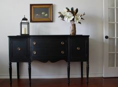 Vintage Black Sideboard. many versions of this around...  like the black paint, classes up more mixed furniture