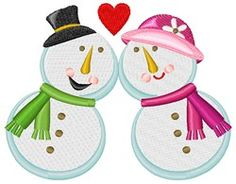 Snowman and Snowwoman Love machine embroidery design from embroiderydesigns.com Love Machine, Machine Embroidery Designs, Snowman, Minnie Mouse, Disney Characters, Christmas, Art, Xmas, Art Background