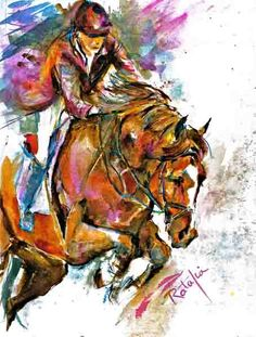 Stadium Jumping Watercolor Fine Art horse print SIGNED by the Artist Carol Ratafia DOUBLE MATTED to 16x20