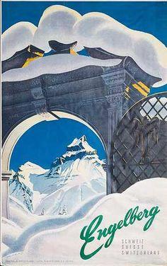 Engelberg vintage poster 1950s - My favorite ski resort :o)