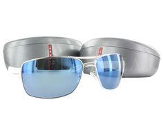 0f63c08883709 NEW Prada Sport SPS 53N 1BC 9P1 White   Blue Mirror Sunglasses