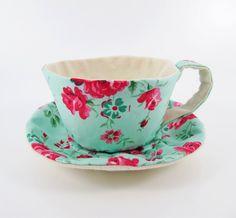 Textile Teacup Tidy- Rose on Aqua Green