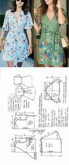 Ideas Dress Pattern Diy Costura For 2019 Dress Sewing Patterns, Clothing Patterns, Wrap Dress Patterns, Apron Patterns, Wrap Pattern, Pattern Dress, Dress Paterns, Knitting Patterns, Simple Pattern