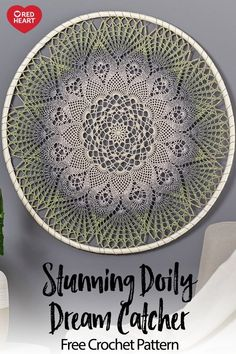 Stunning Doily Dream Catcher free crochet pattern in It's a Wrap Rainbow yarn. Upgrade your art wall with this gorgeous doily design! just one ball of It's a Wrap Rainbow and you'll be on your way to a uniquely stylish piece of art that celebrates your love of yarn and art.