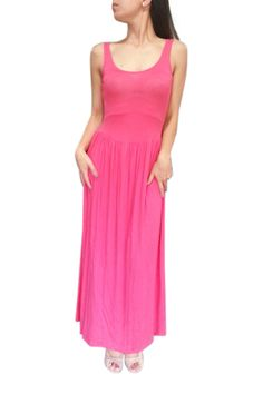 Sleeveless Maxi Dress with Cutout Back! Coral.