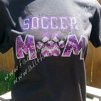 This super soft, ring spun, Soccer Mom tee is done in Spangle, the new bling! Lays flat, does not contain lead like stones; making it safe for children's wear lightweight & lasts the lifetime of the garment. Customize in your team colors at no additional charge!   Sizes available- small-3xl  **...