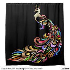 Elegant metallic colorful peacock shower curtain