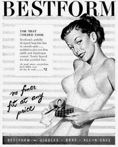 Bestform Lingerie Molded Look No Finer Fit 1947 - www.MadMenArt.com | Vintage Ads with Sex Appeal. Over 2000 vintage designs which could be said to have sex appeal. The blurred line between sex appeal and sexism. #Advertising #Vintage #Ads #VintageAds #SexAppeal