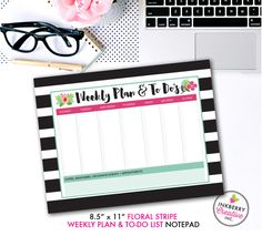 Weekly Planner and To Do List Notepad - Black and White Stripe Floral