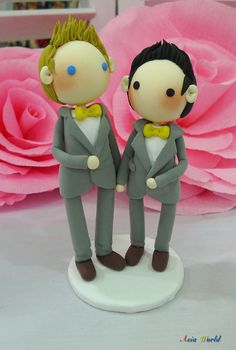 Gay Wedding Cake topper clay doll in grey theme  Same by AsiaWorld